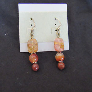 Jewelry - Hand made quartz and glass beaded earring, silver